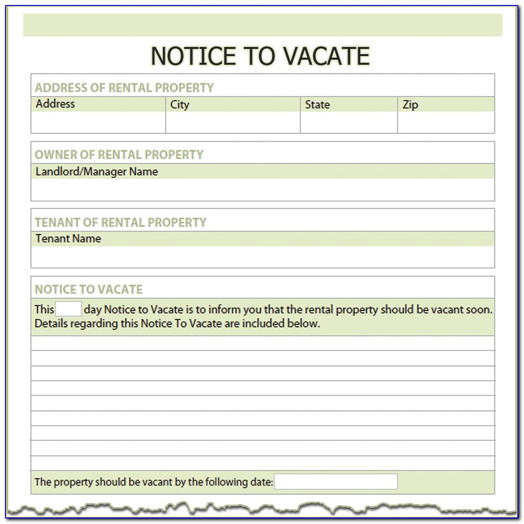 Tenants 30 Day Notice Of Intent To Vacate Template