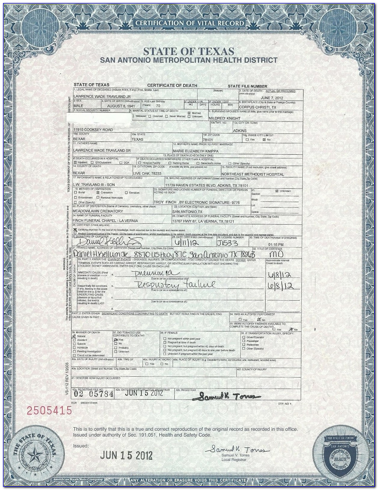 Texas Birth Certificate Long Form