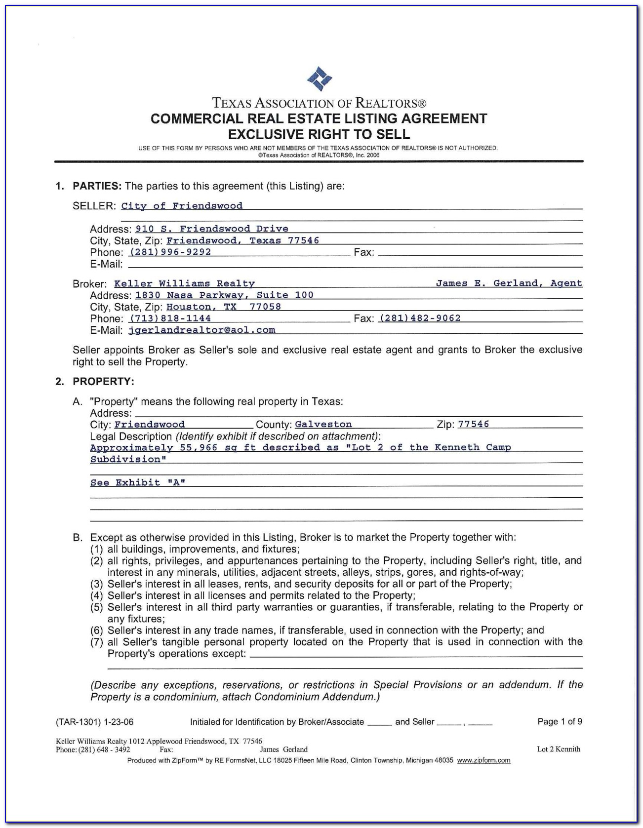 Texas Real Estate Contract Forms