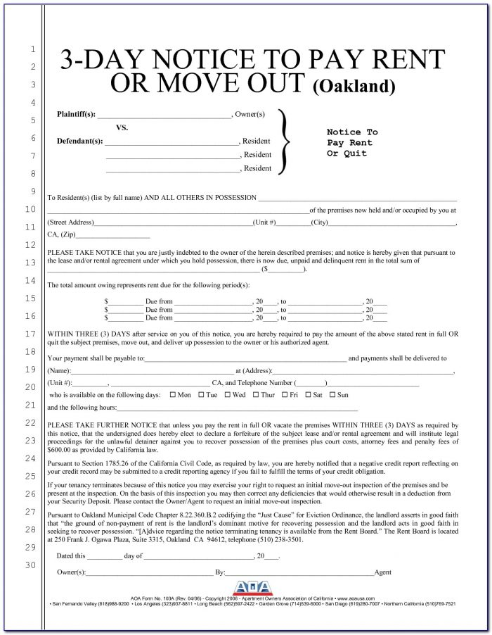 Three Day Notice To Pay Rent Or Quit Free Form California