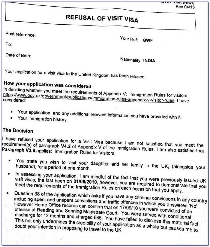 Uk Standard Visitor Visa Refusal (deception, V3.6(b)) And Intended For Sample Appeal Letter For Visa Refusal Uk