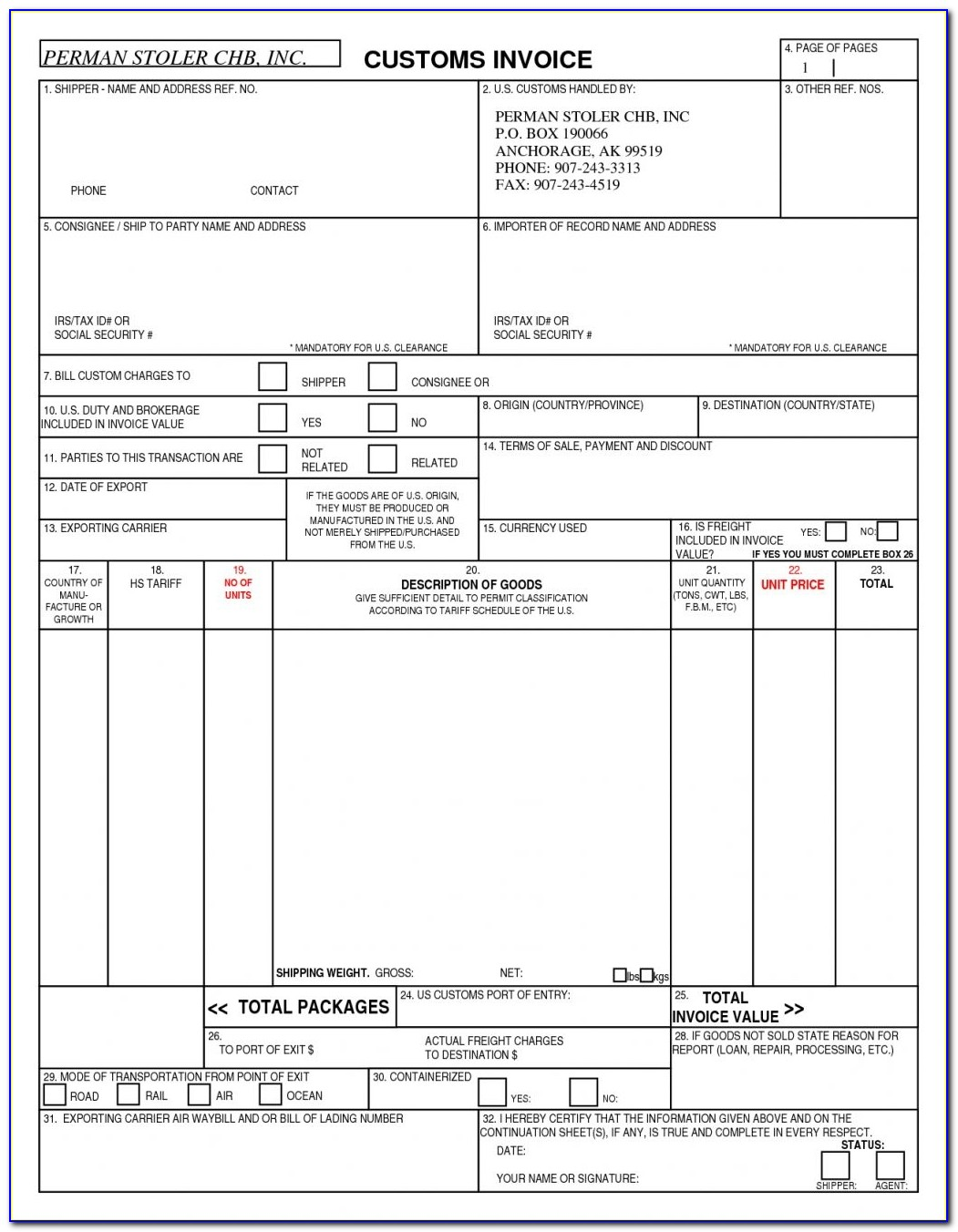 Customs Invoice Template Invoicegenerator Us Customs Invoice Form