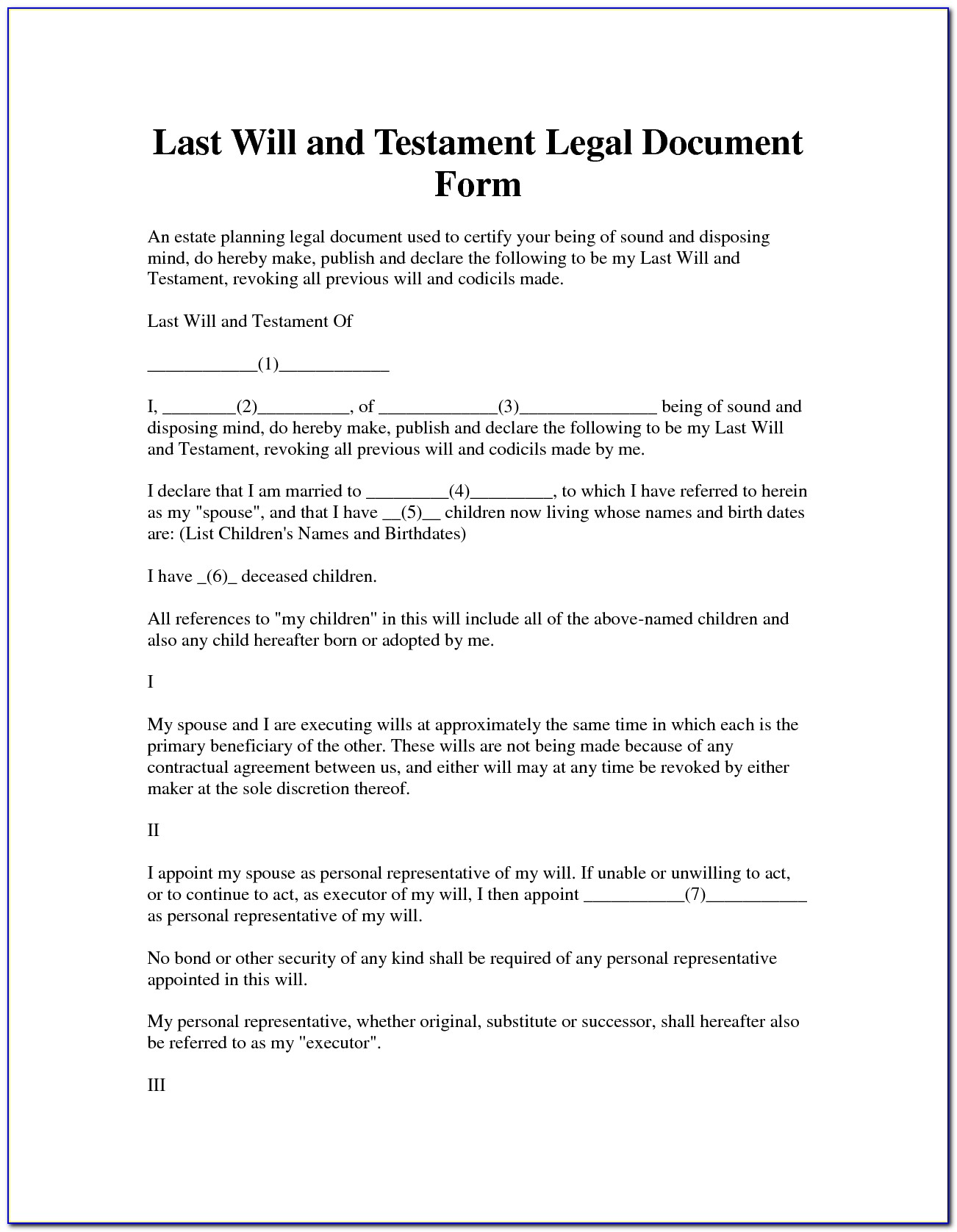 Us Legal Forms Last Will And Testament