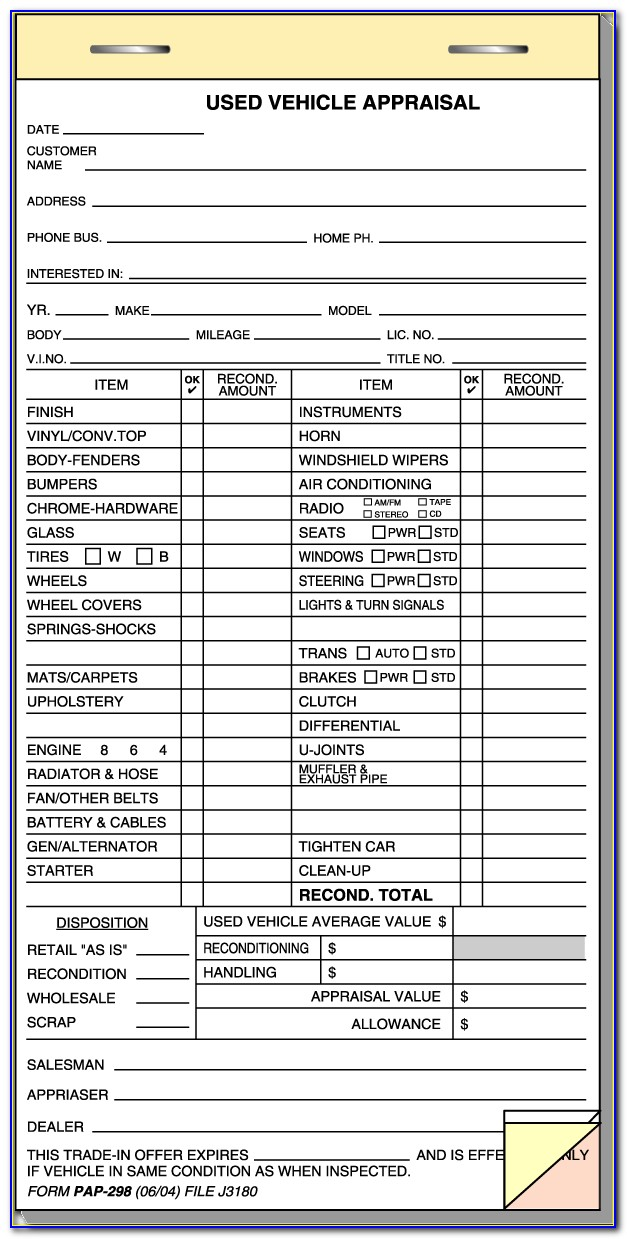 Vehicle Appraisal Form Excel