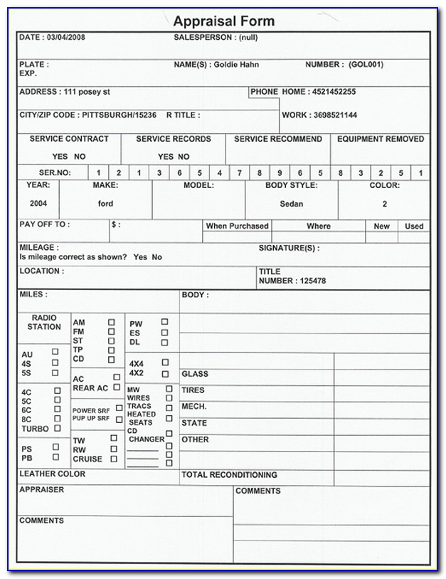 Vehicle Appraisal Form Nova Scotia