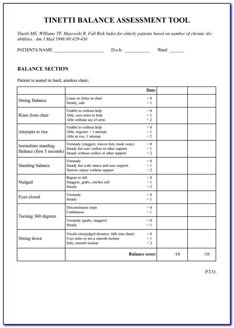 Vestibular Evaluation Physical Therapy Form