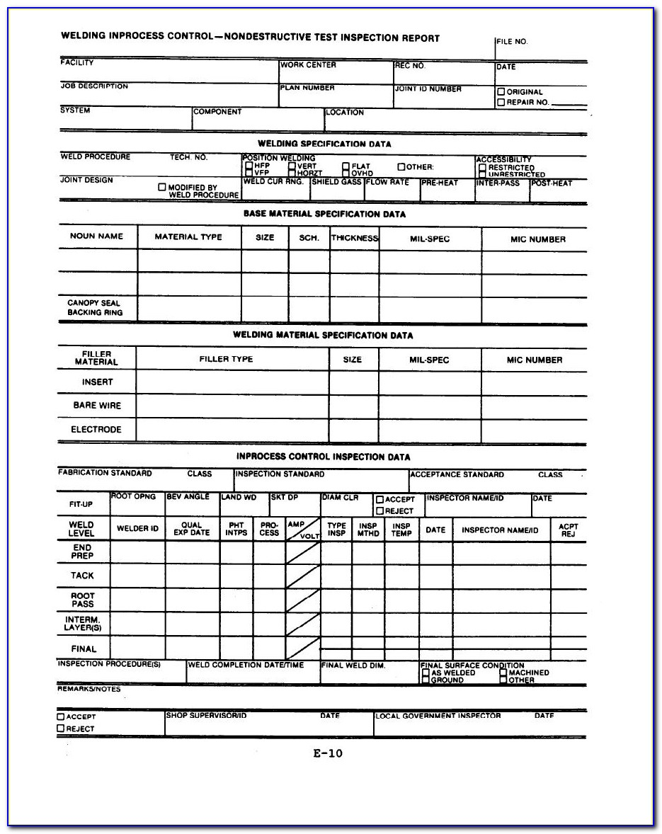 Visual Weld Inspection Form Template