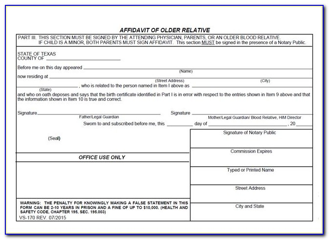 Vital Statistics Form For Divorce Texas