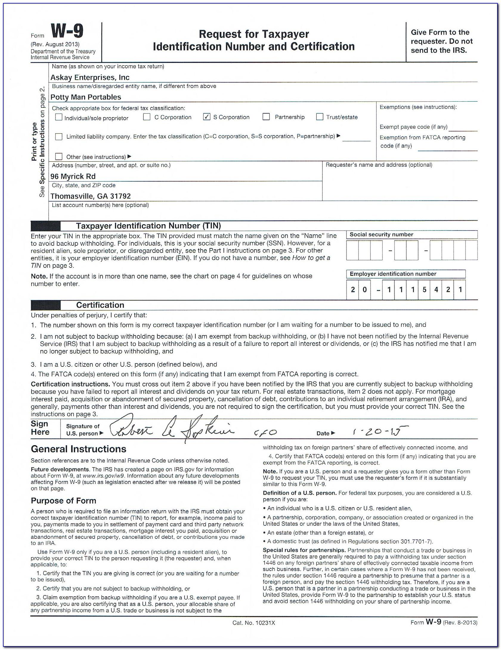 W 9 Form Print Off