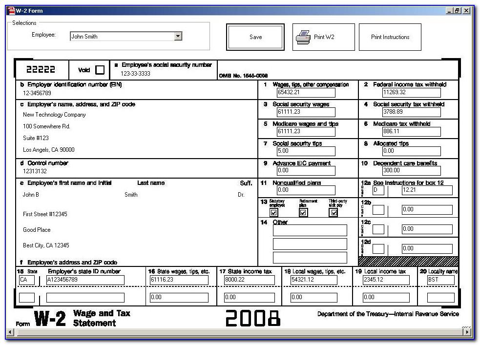 W2 Form Statutory Employee