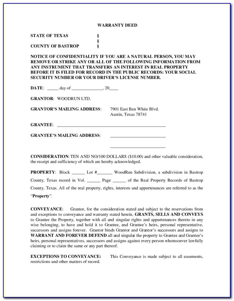 Warranty Deed Form Texas