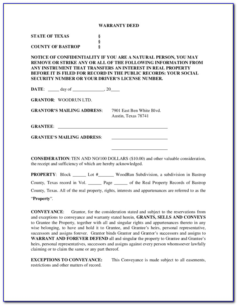 Warranty Deed Texas Form