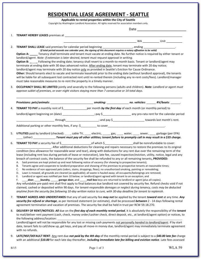 Washington State Landlord Tenant Forms