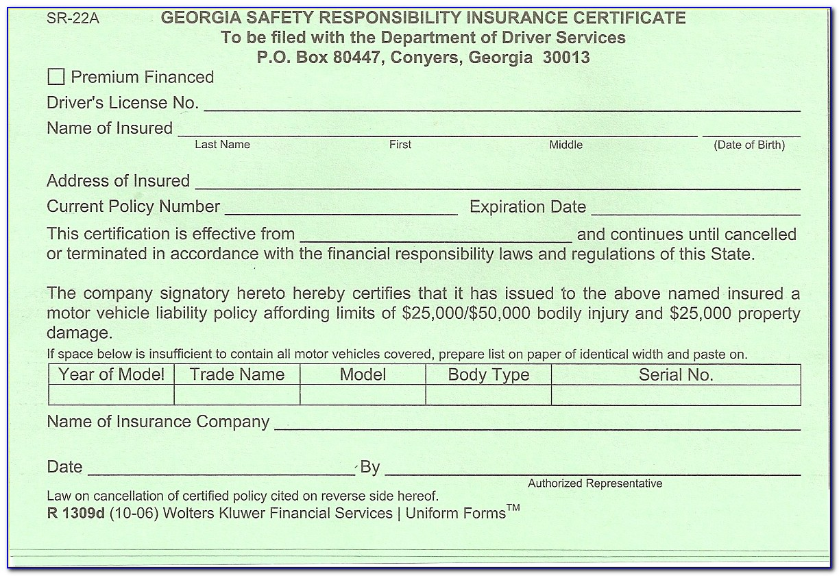 What Is A Sr 22 Form In Texas