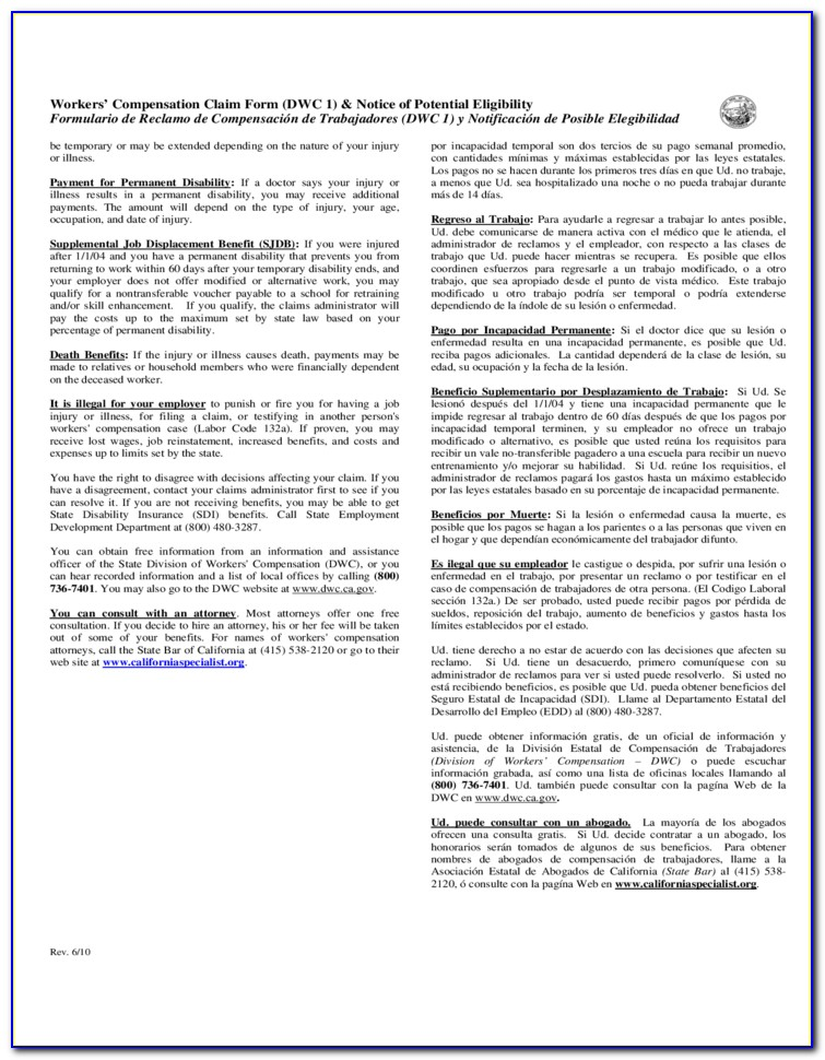 Workers Comp Forms Ca