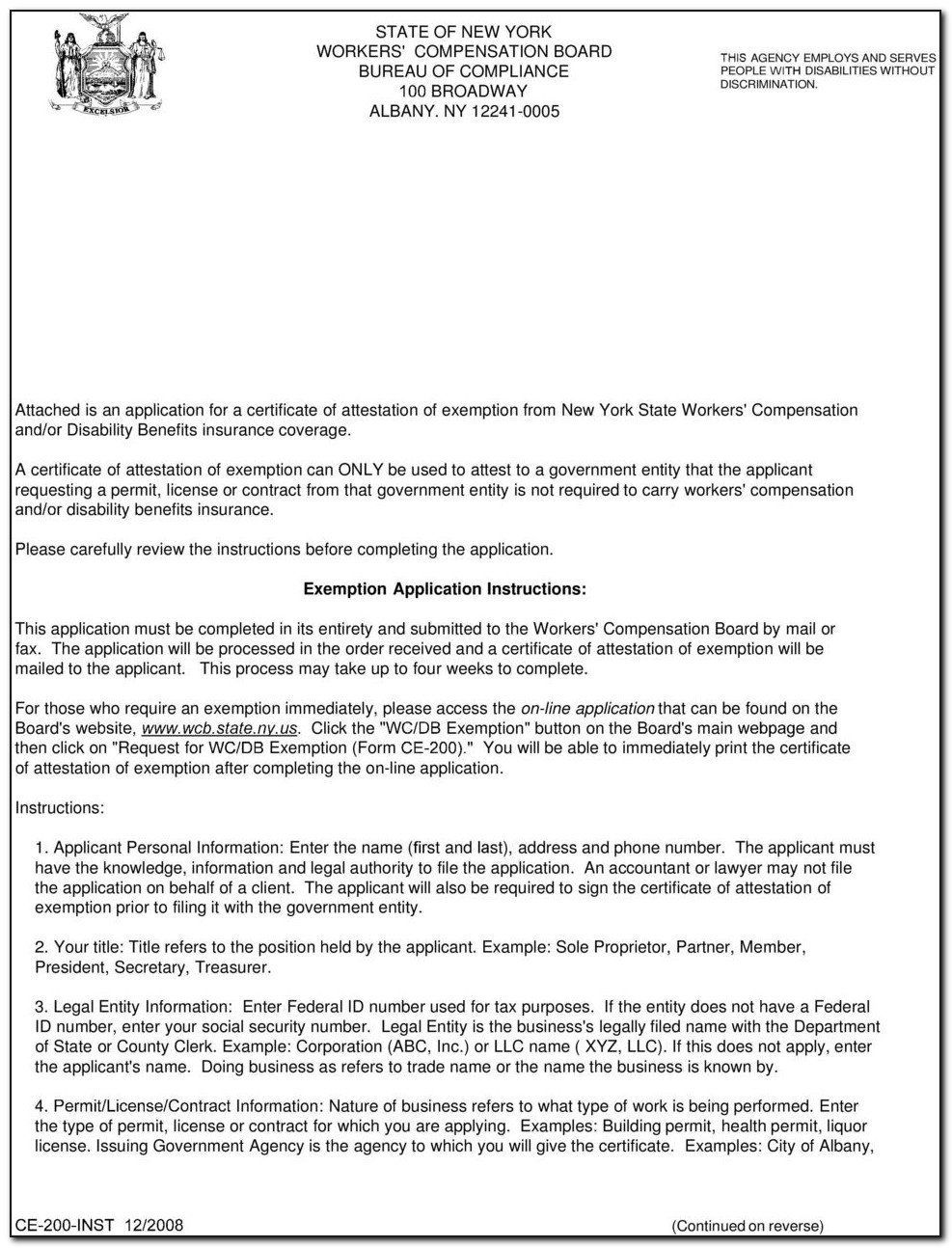 Workers Compensation Form Ce 200