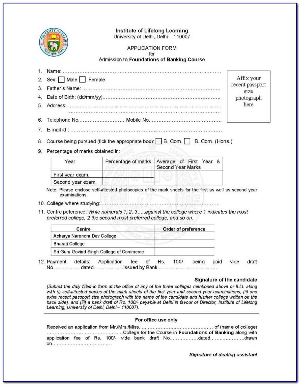 Ymca Admission Form 2017