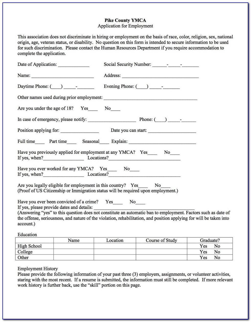 Ymca Admission Form 2018