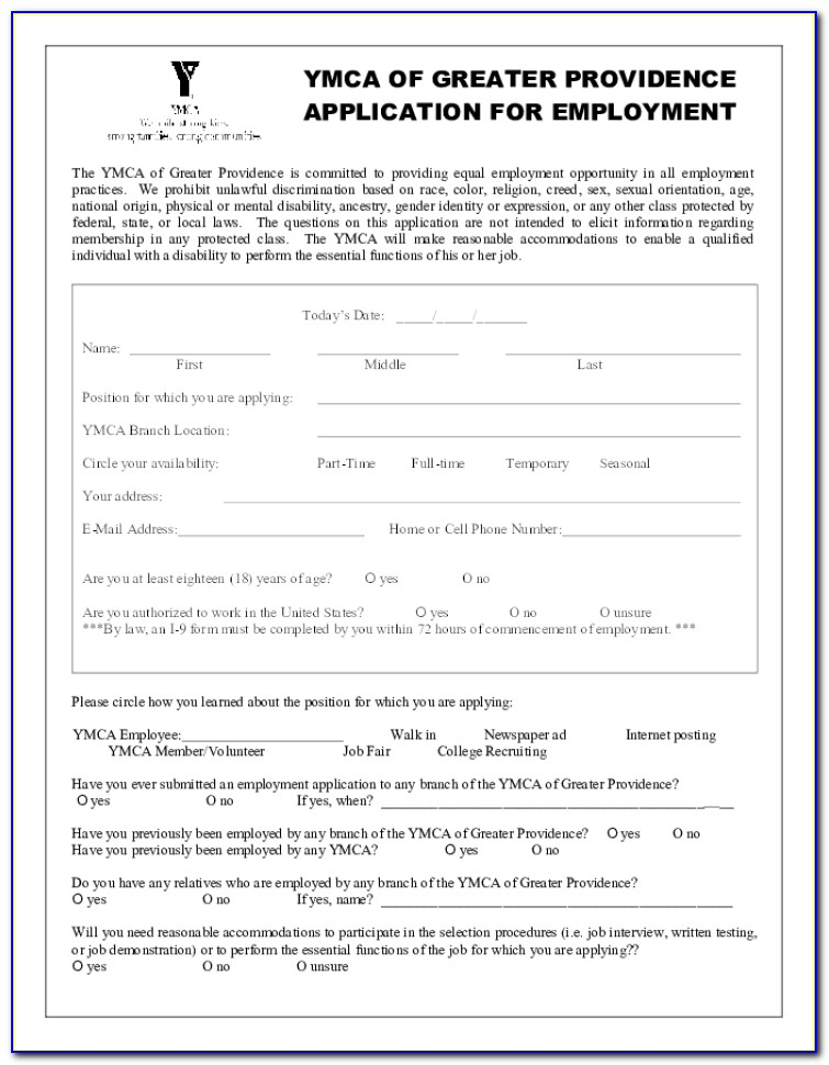 Ymca Admission Form Last Date