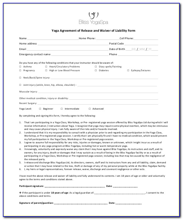 Yoga Waiver Form Template Australia