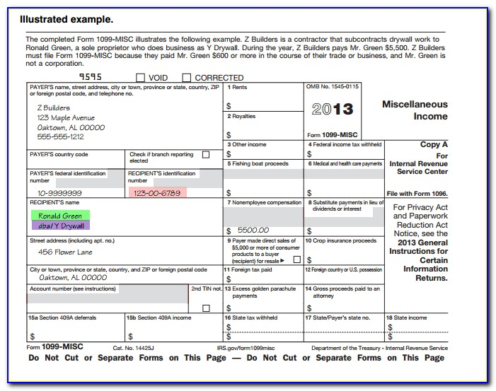 1099 Form For Employee To Fill Out
