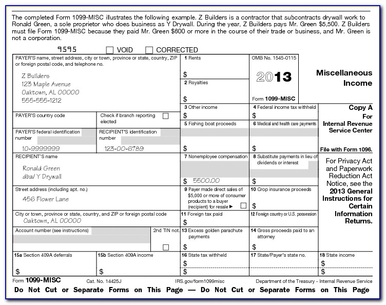 1099 Form For Independent Contractors
