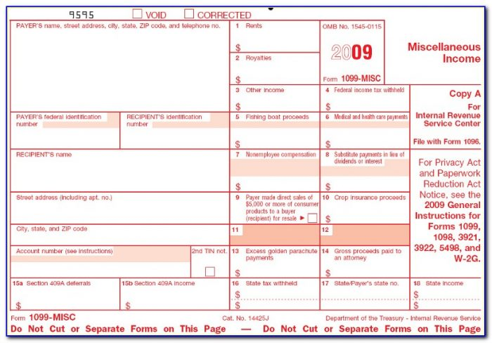 1099 Misc Template For Preprinted Forms