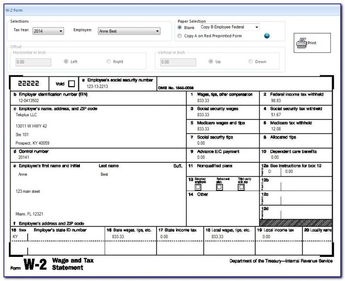 Printable Tax Form. Printable Tax Return Form In Pdf Sample With W2 Form Template