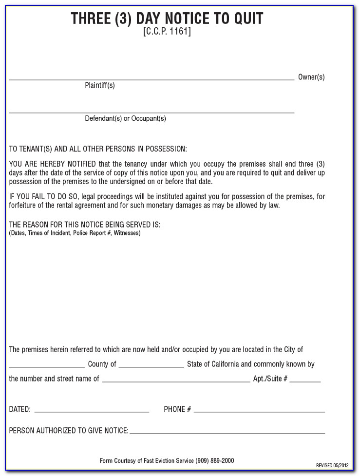 3 Day Eviction Notice California Form