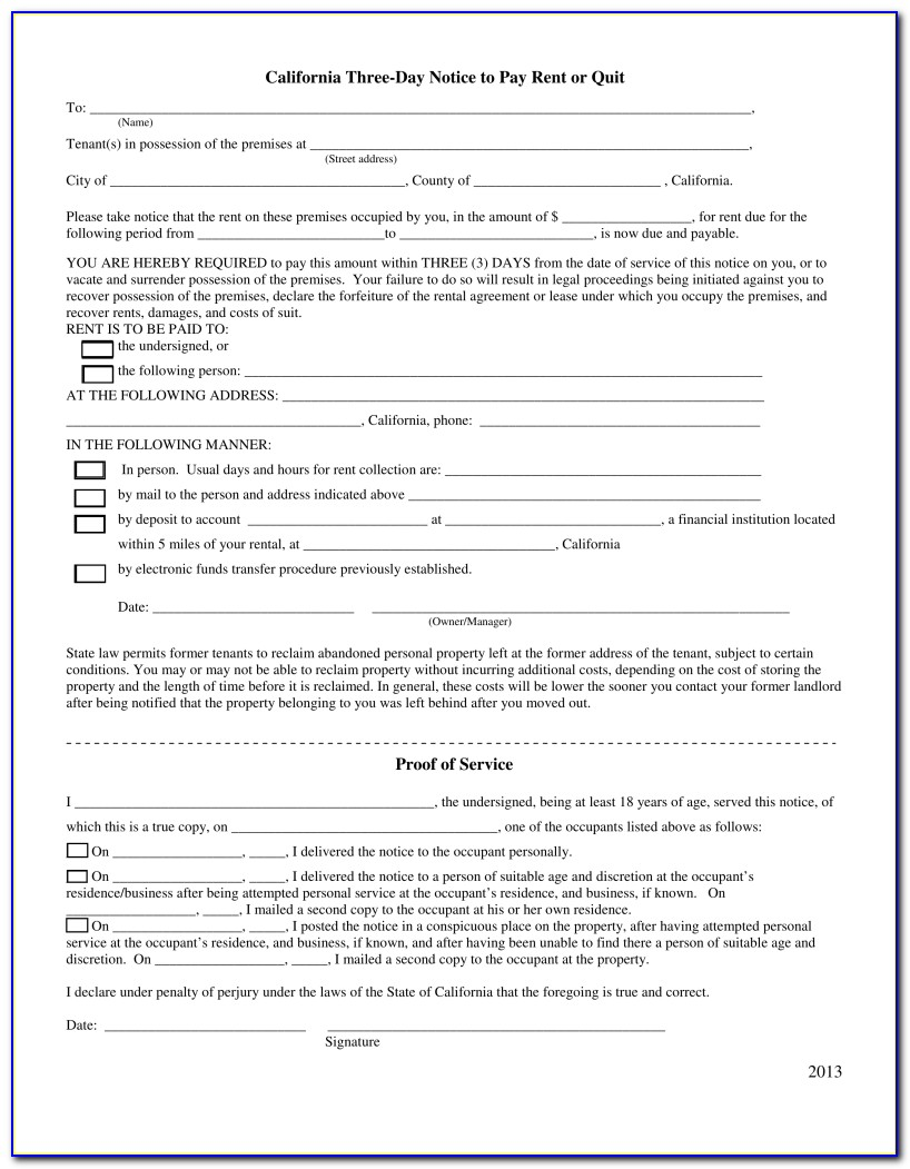 3 Day Eviction Notice Form California Pdf