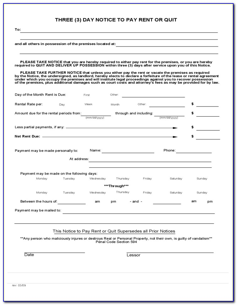 3 Day Notice To Pay Or Quit Form In Spanish