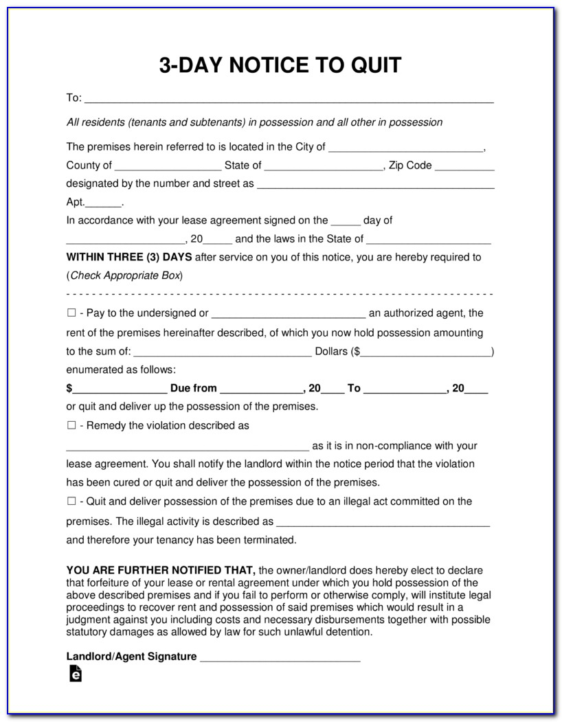 3 Day Or Quit Notice Form