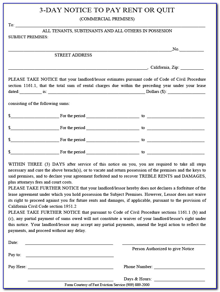 3 Day Pay Or Quit Notice Form