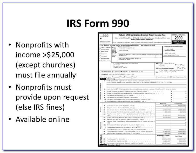 990 Tax Form Non Profit