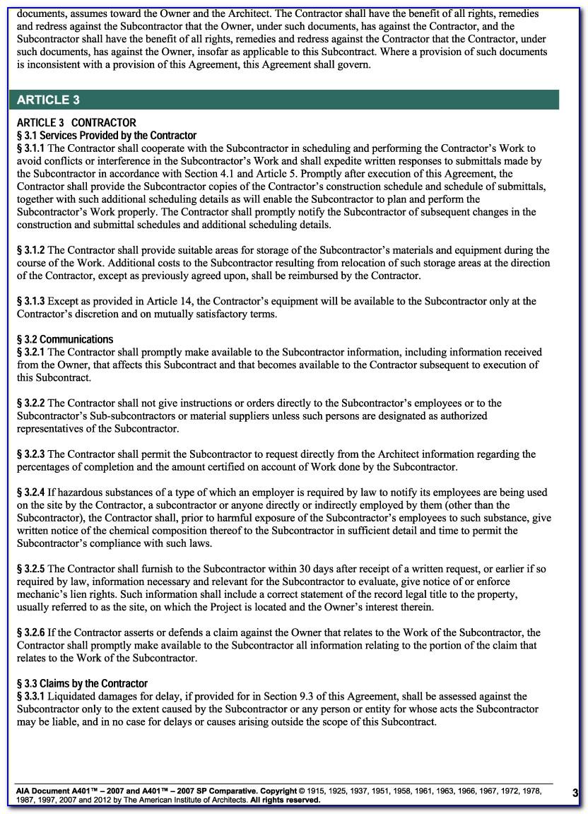 A401 Standard Form Of Agreement Between Contractor Subcontractor 2007