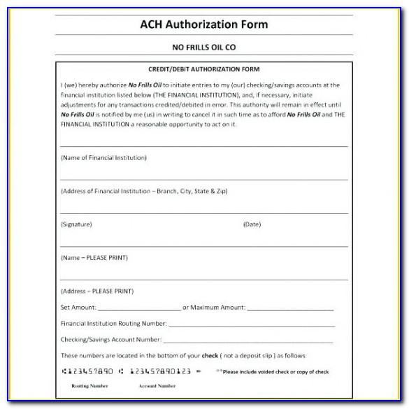 Debit Authorization Form Template Free Ach Direct Deposit Canada In Ach Authorization Form Template