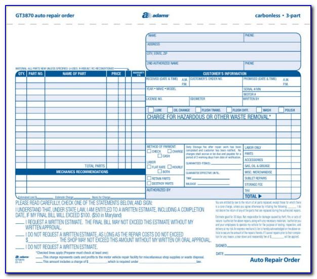 Adams Auto Repair Order Forms Gt3870
