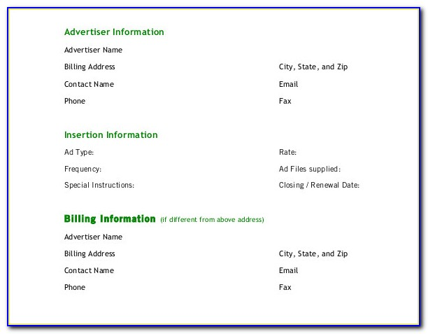Advertising Insertion Order Form Template