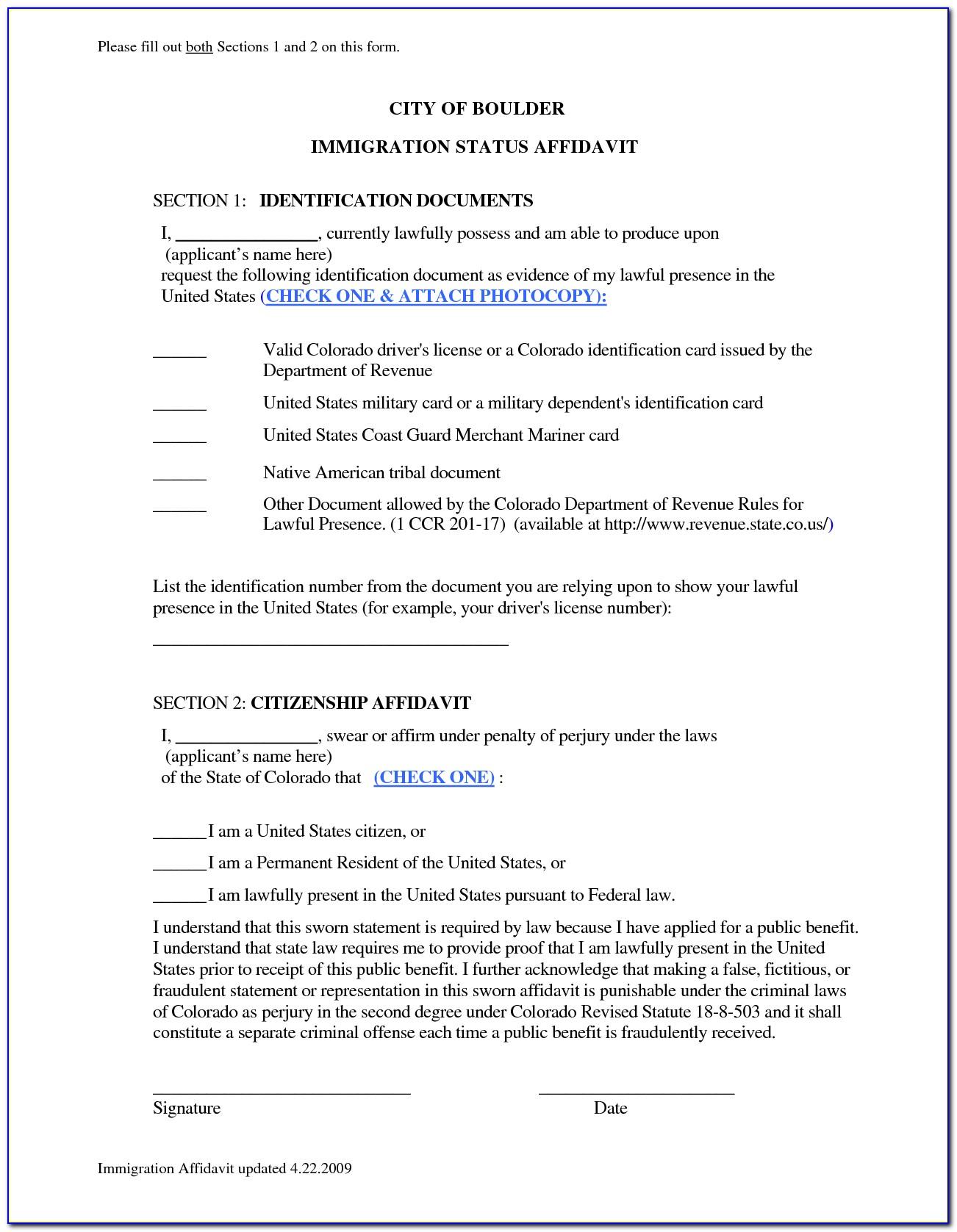 Affidavit Form Immigration Australia