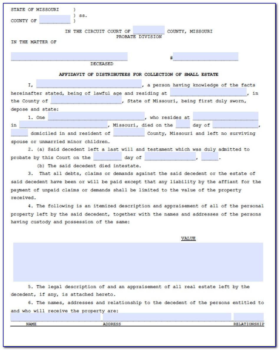 Affidavit Of Death Form Missouri