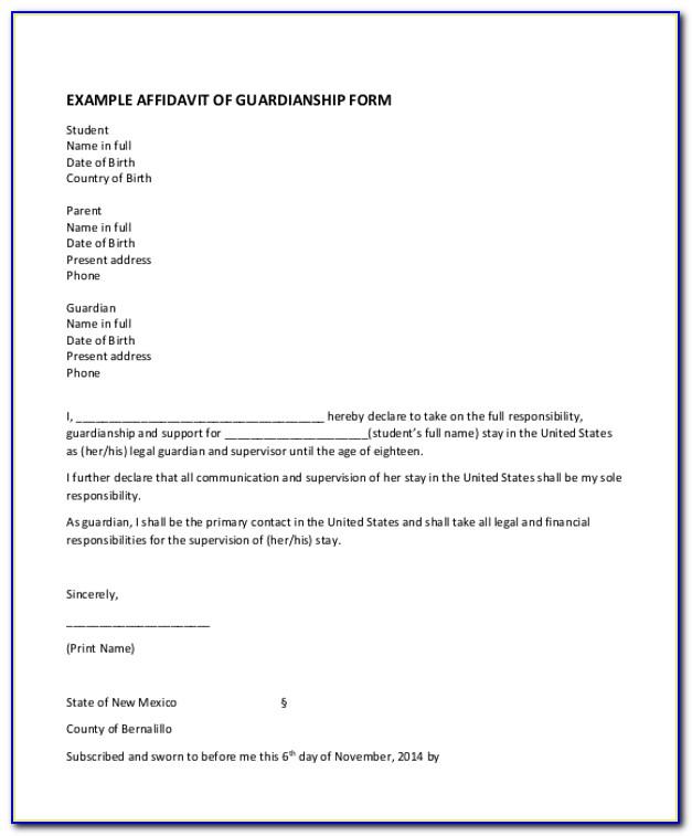 Affidavit Of Guardianship Form Philippines