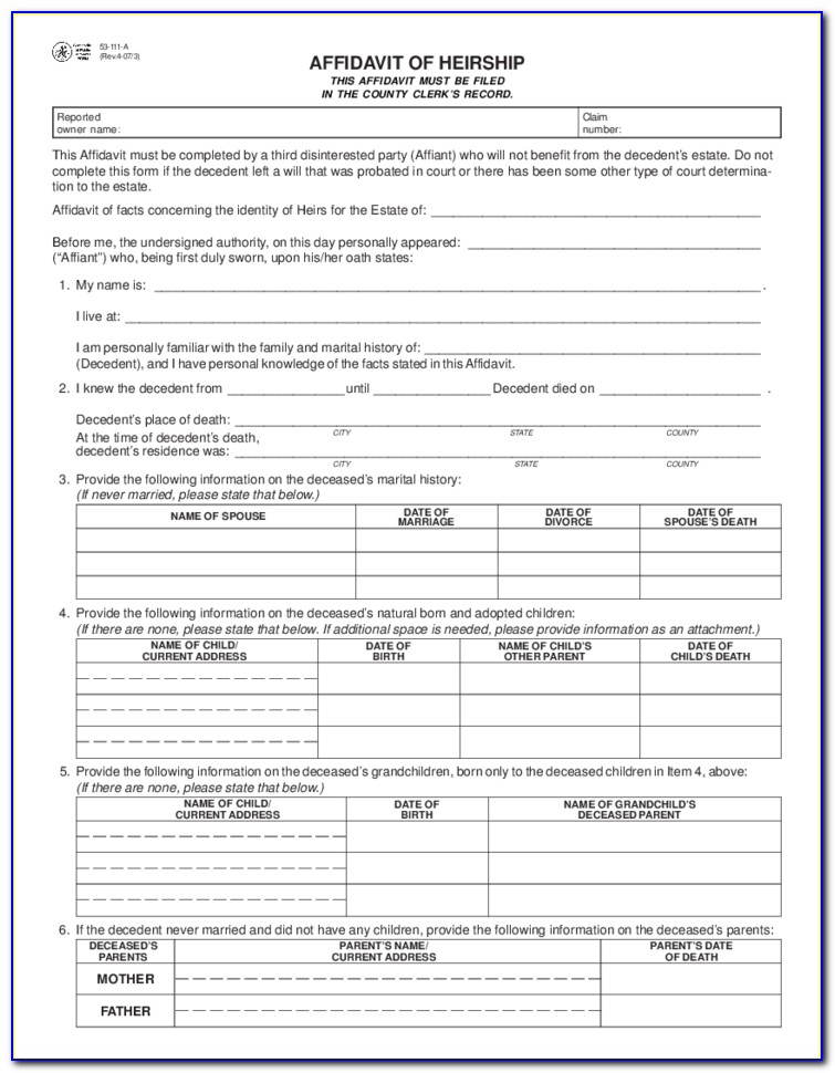 Affidavit Of Heirship Forms Texas Free