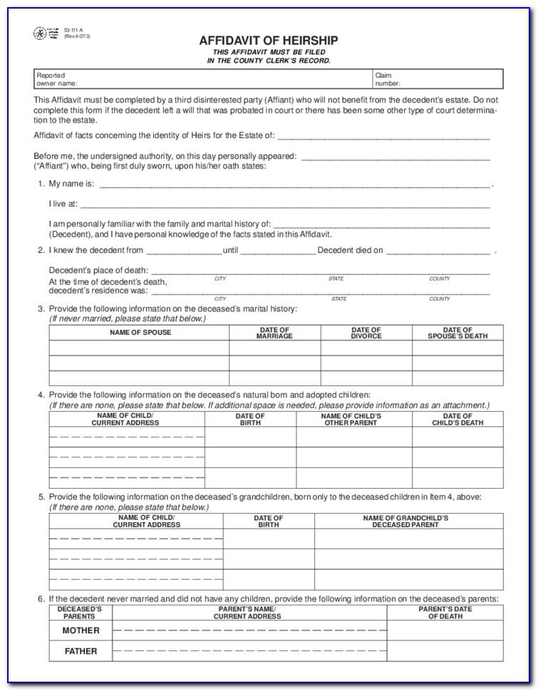 Affidavit Of Heirship Forms Texas Free