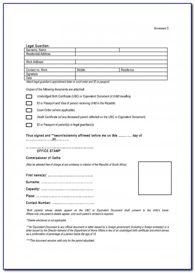 Affidavit Of Parental Consent For Travel Of A Minor Child Sample Form