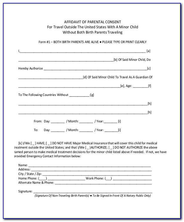 Affidavit Of Parental Consent For Travel With One Parent Form