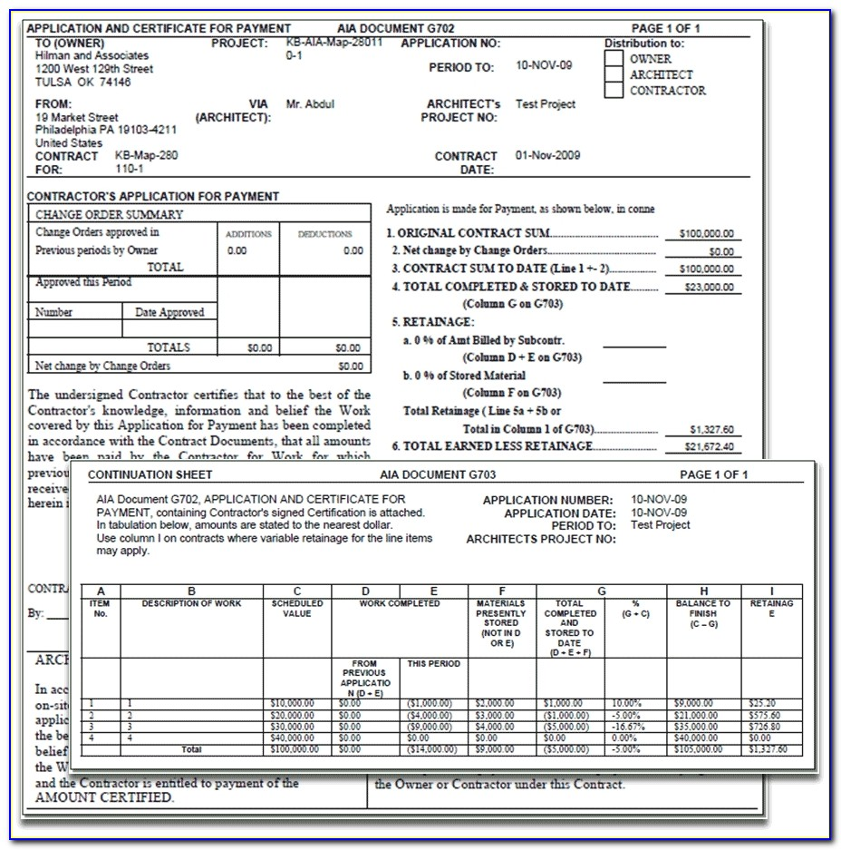 Construction Contract Billing Aia Invoice Template