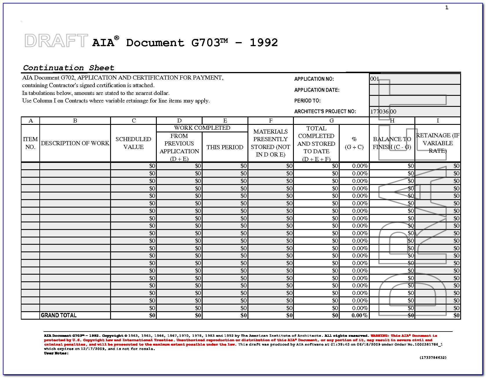 Aia Document G702 Pdf Form