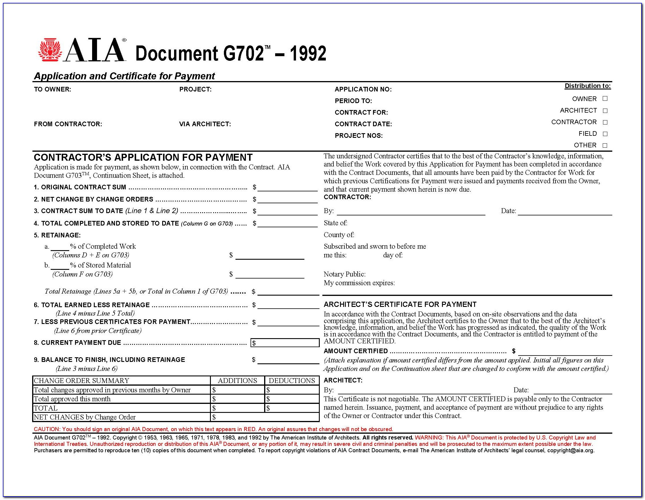 Aia Document G704 Form