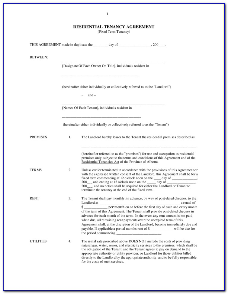 Alberta Rental Agreement Forms Pdf