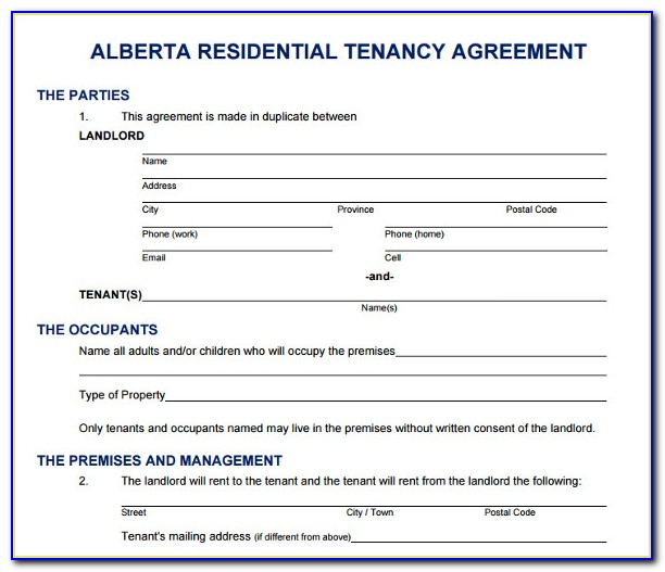 Alberta Rental Agreement Forms